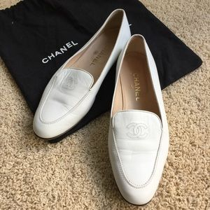 Chanel white leather shoes